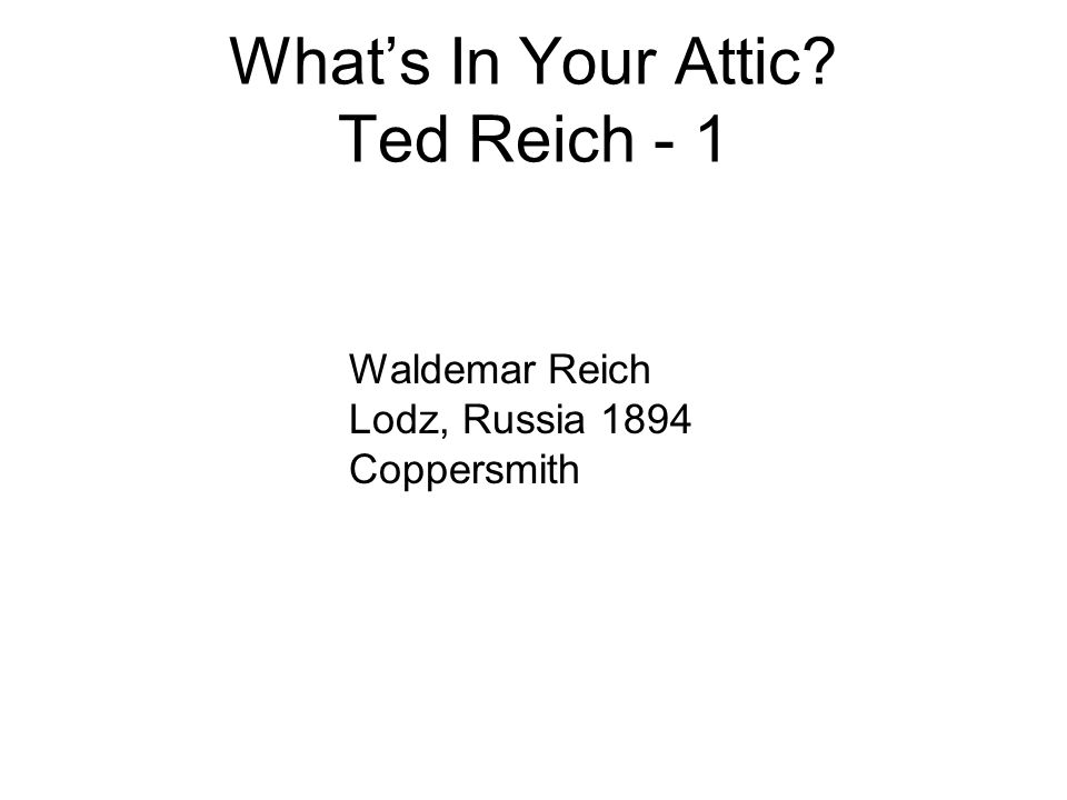 What's In Your Attic Ted Reich - 1