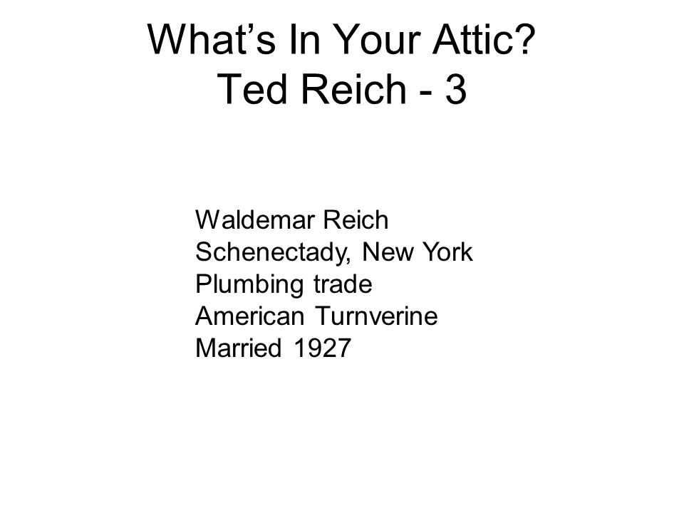 What's In Your Attic Ted Reich - 3