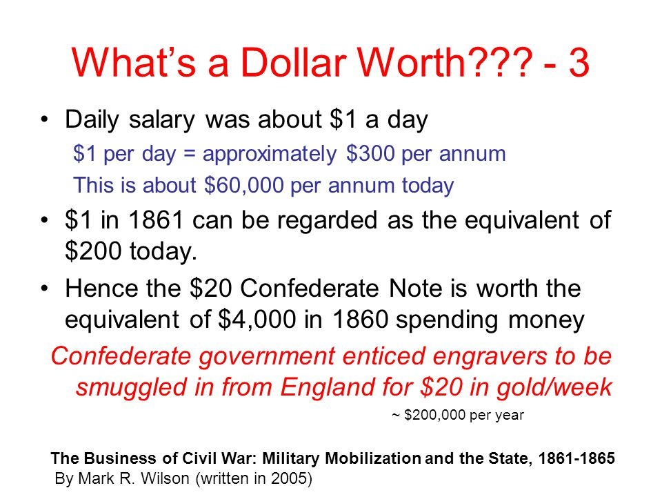 What's a Dollar Worth - 3 Daily salary was about $1 a day