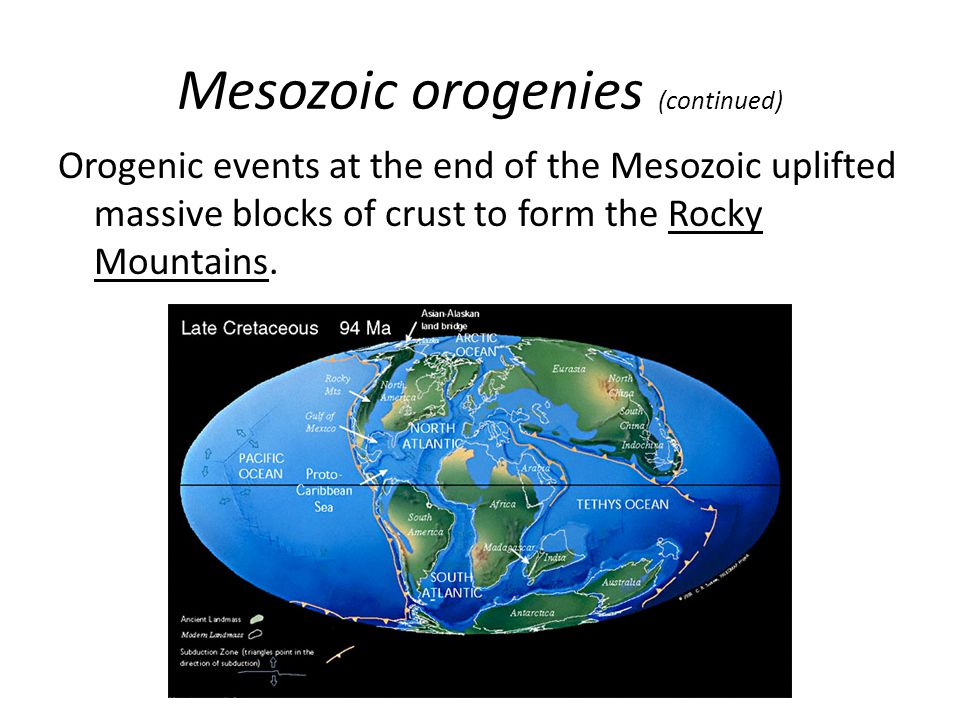 Mesozoic orogenies (continued)