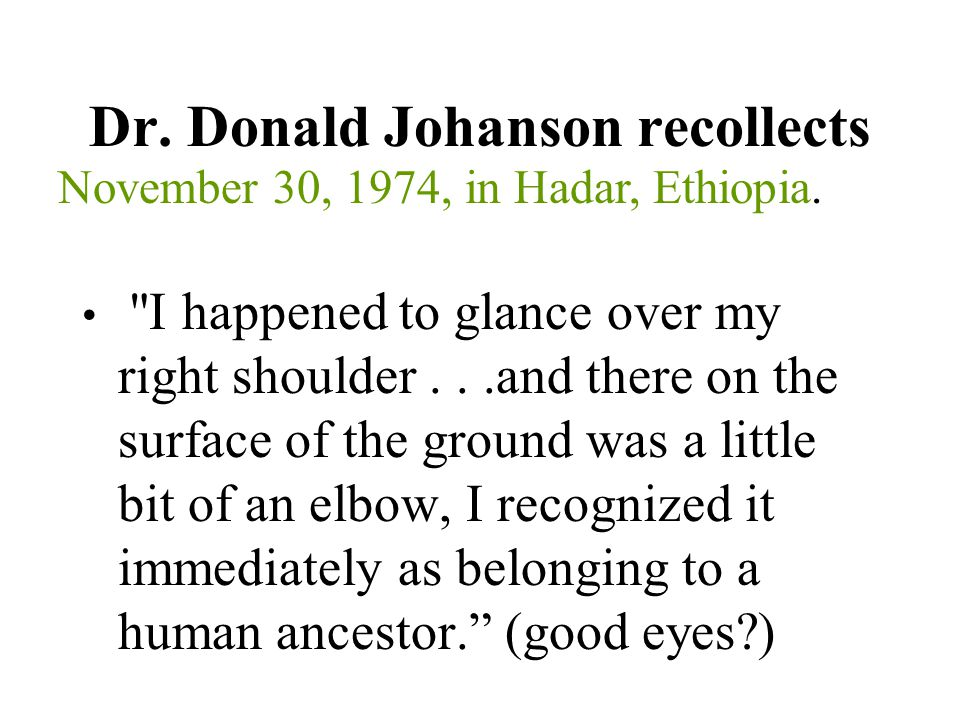 Dr. Donald Johanson recollects
