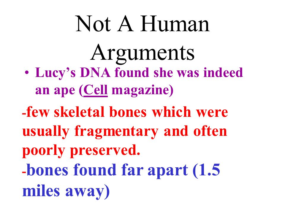 Not A Human Arguments Lucy's DNA found she was indeed an ape (Cell magazine)