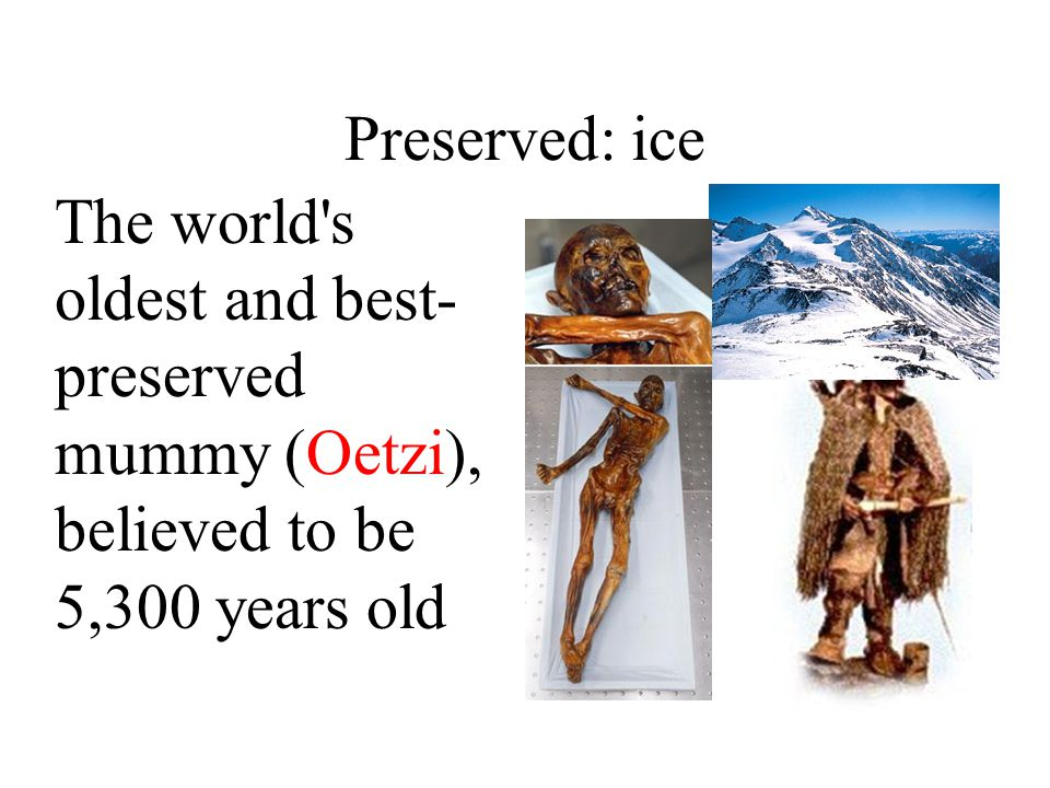 Preserved: ice The world s oldest and best-preserved mummy (Oetzi), believed to be 5,300 years old
