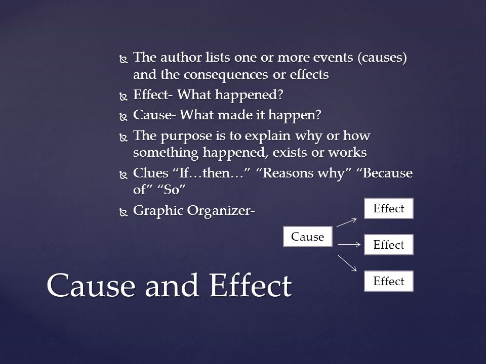 The author lists one or more events (causes) and the consequences or effects