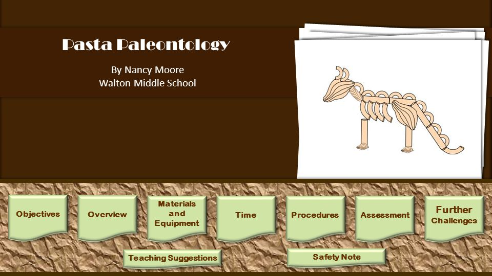 Pasta Paleontology By Nancy Moore Walton Middle School Further