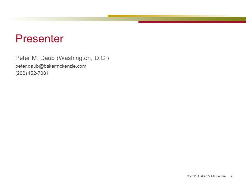 Presenter Peter M. Daub (Washington, D.C.)