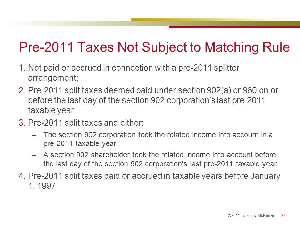 Pre-2011 Taxes Not Subject to Matching Rule