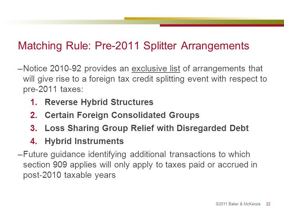 Matching Rule: Pre-2011 Splitter Arrangements