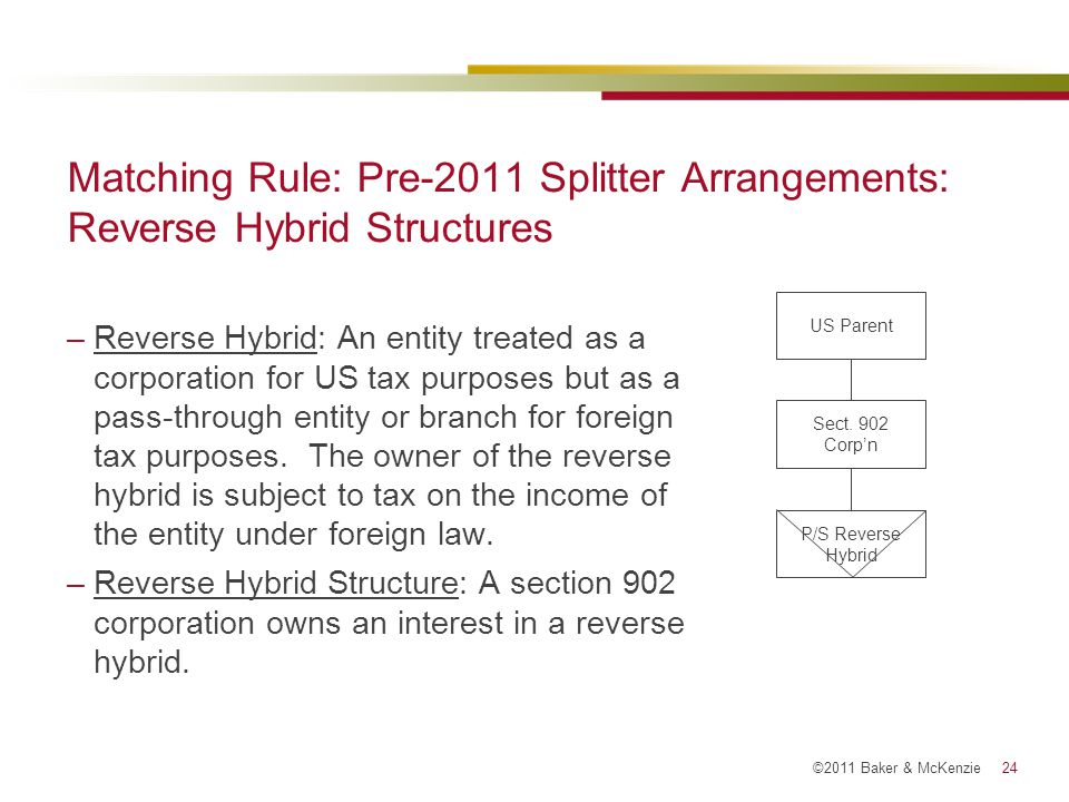 Matching Rule: Pre-2011 Splitter Arrangements: Reverse Hybrid Structures