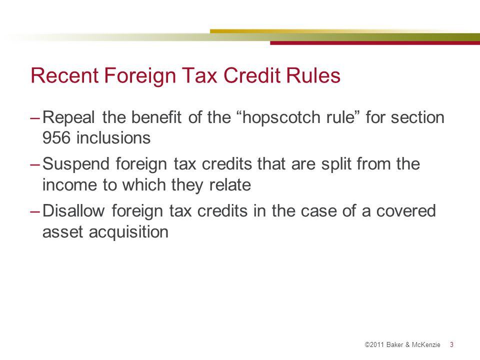 Recent Foreign Tax Credit Rules