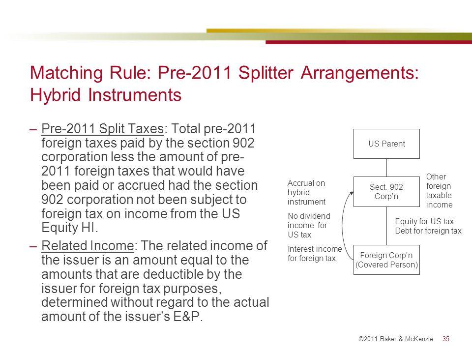 Matching Rule: Pre-2011 Splitter Arrangements: Hybrid Instruments