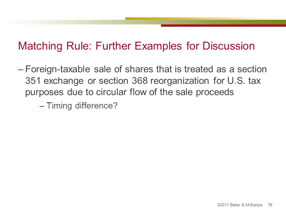 Matching Rule: Further Examples for Discussion