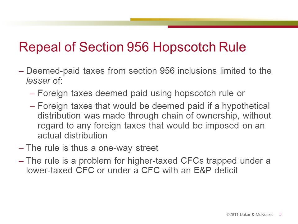 Repeal of Section 956 Hopscotch Rule