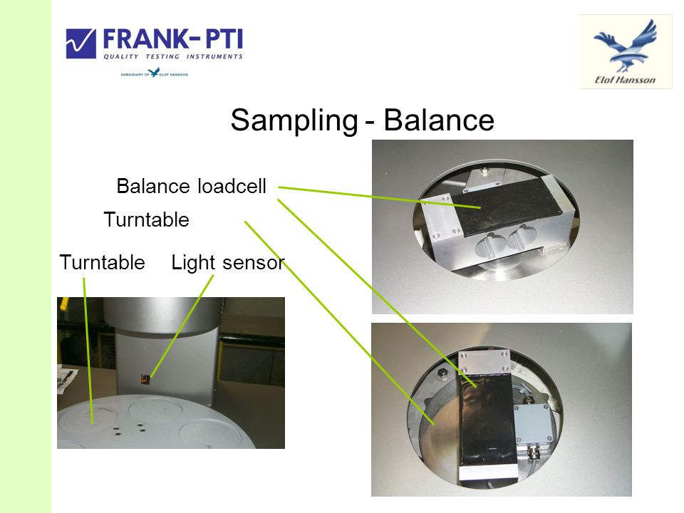 Sampling - Balance Balance loadcell Turntable Turntable Light sensor