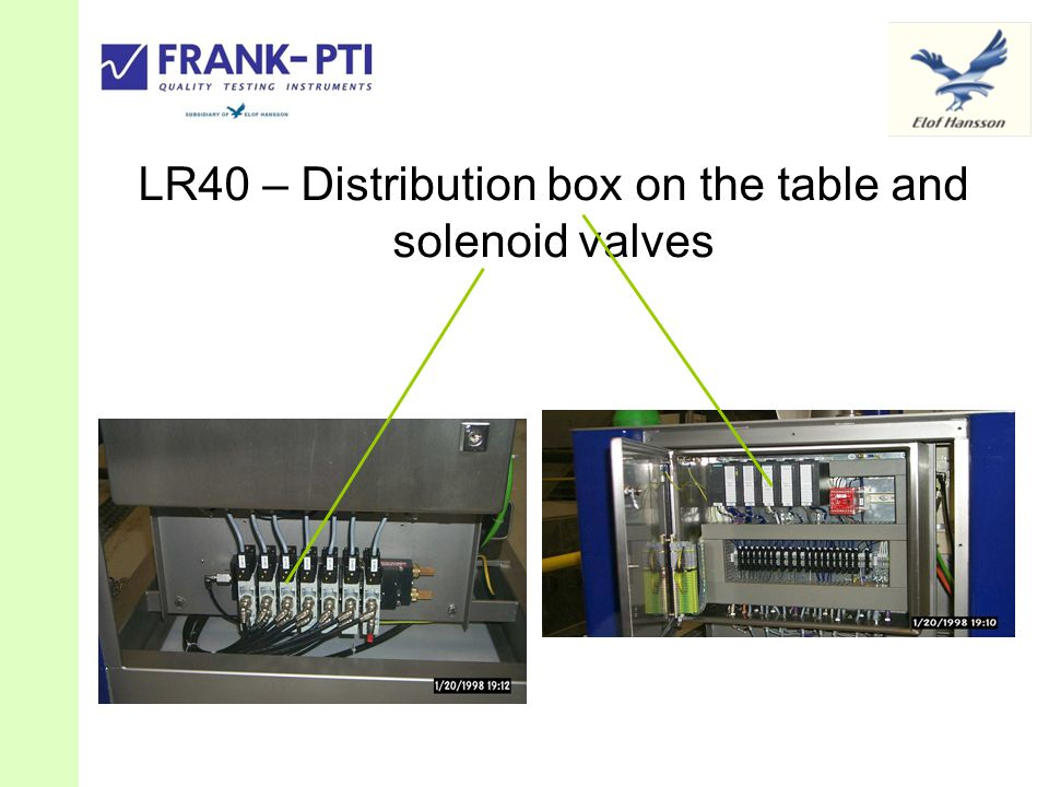 LR40 – Distribution box on the table and solenoid valves