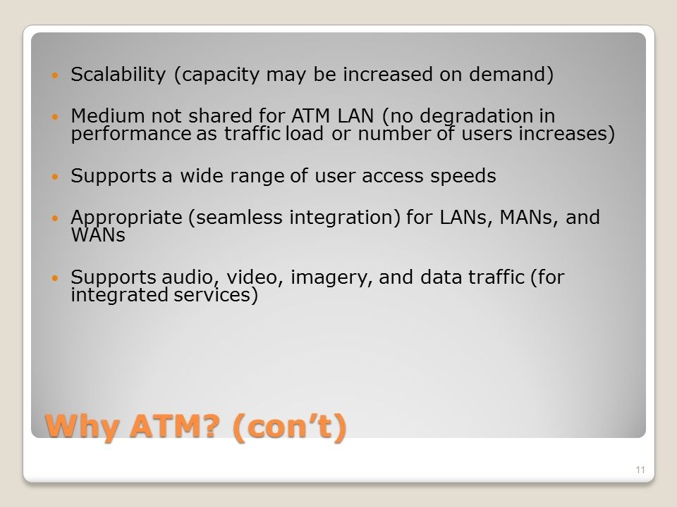 Why ATM (con't) Scalability (capacity may be increased on demand)