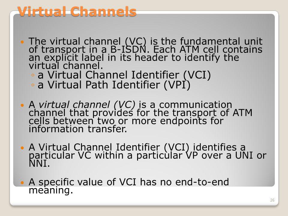 Virtual Channels a Virtual Channel Identifier (VCI)