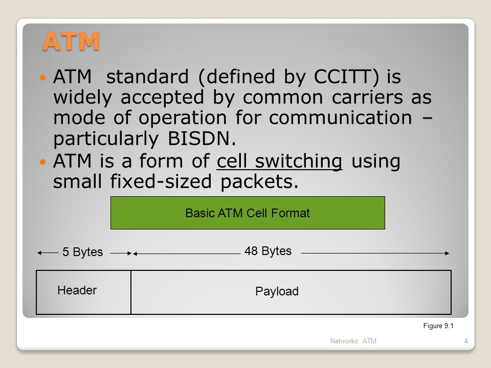 ATM ATM standard (defined by CCITT) is widely accepted by common carriers as mode of operation for communication – particularly BISDN.