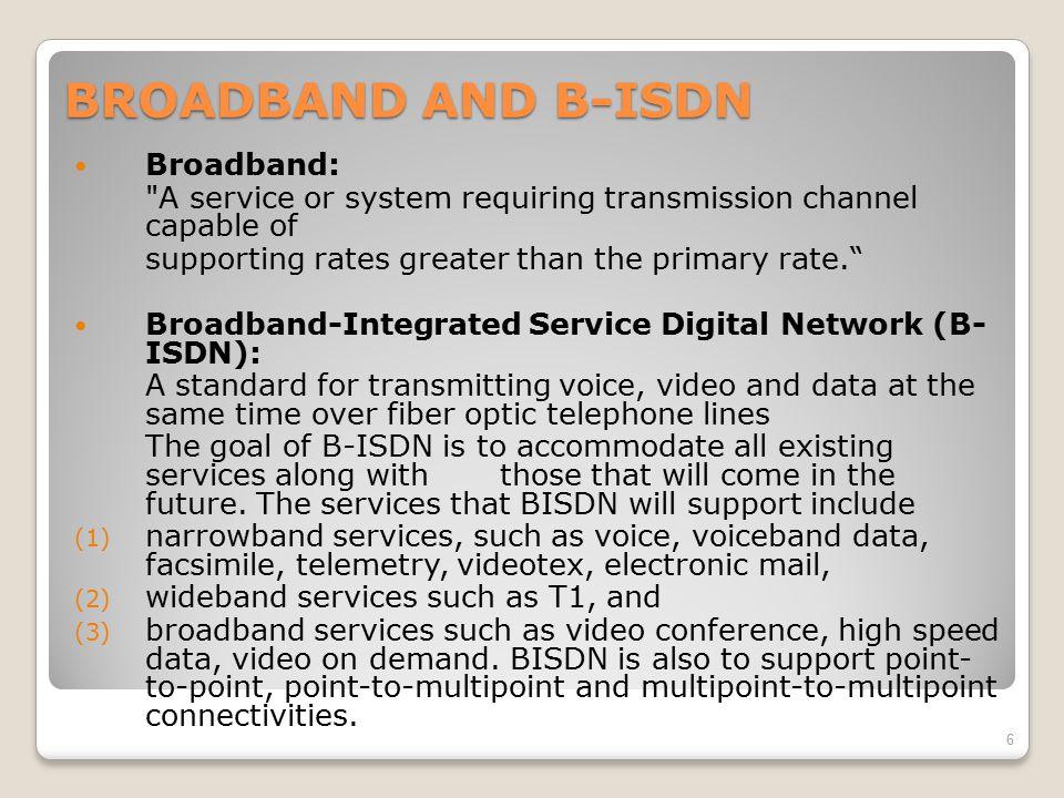 BROADBAND AND B-ISDN Broadband: