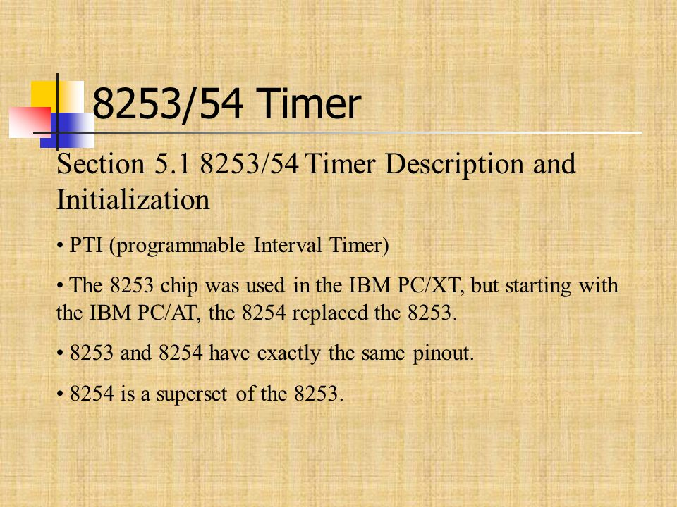 8253/54 Timer Section 5.1 8253/54 Timer Description and Initialization