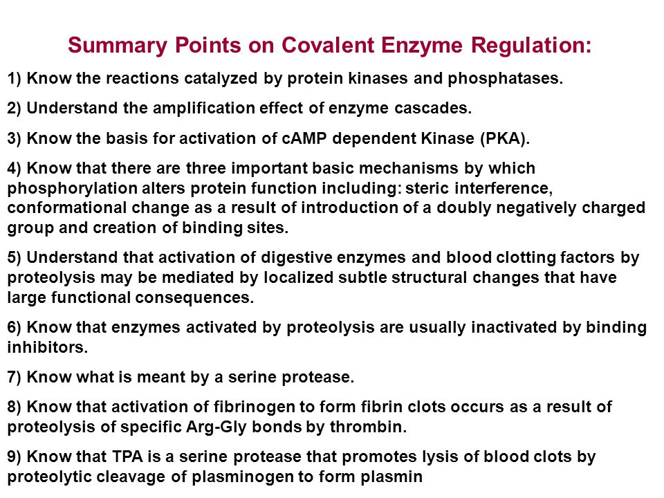 Summary Points on Covalent Enzyme Regulation: