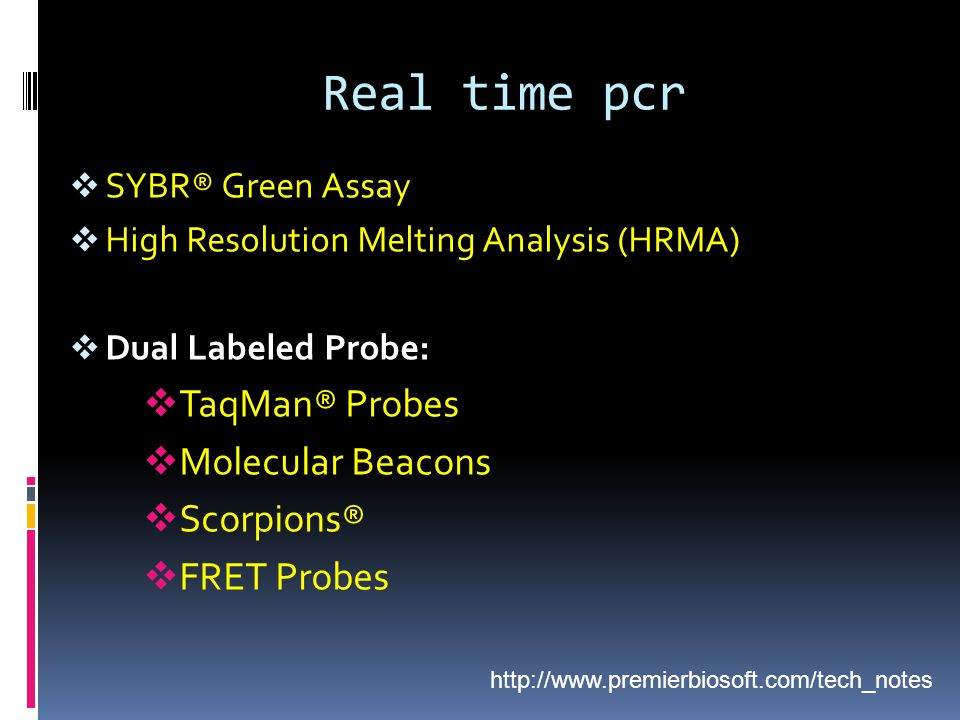 Real time pcr TaqMan® Probes Molecular Beacons Scorpions® FRET Probes