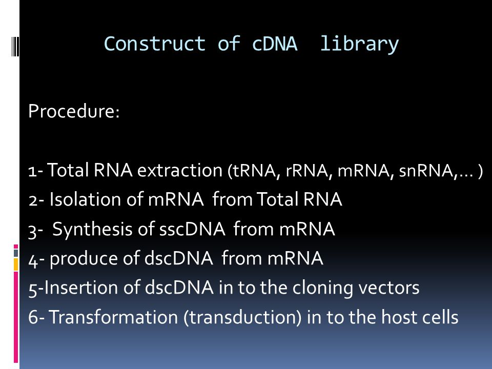 Construct of cDNA library