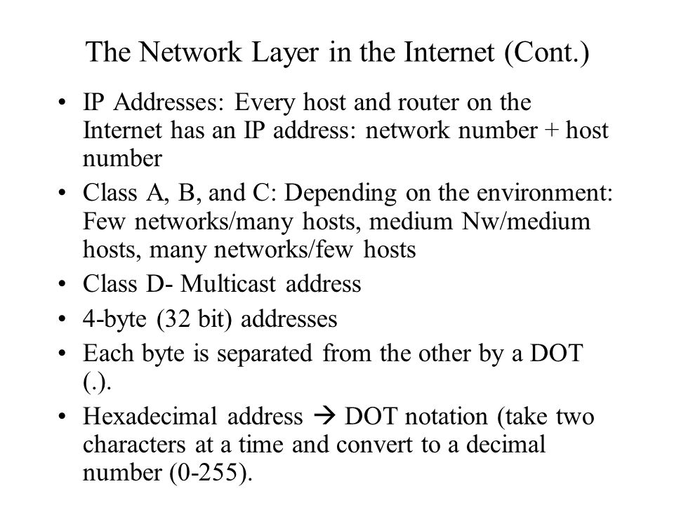 The Network Layer in the Internet (Cont.)