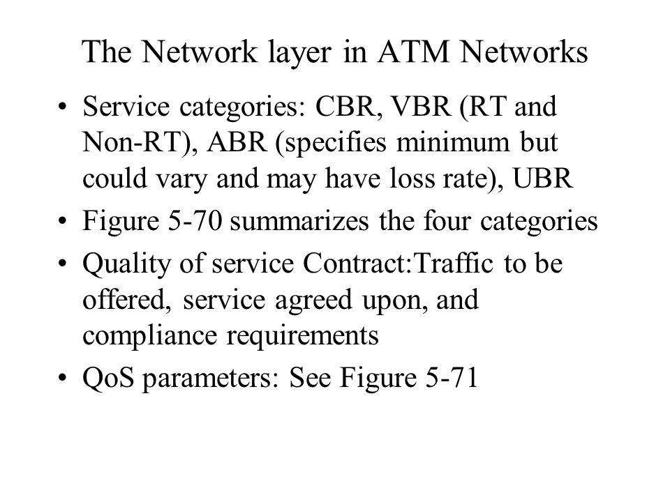 The Network layer in ATM Networks