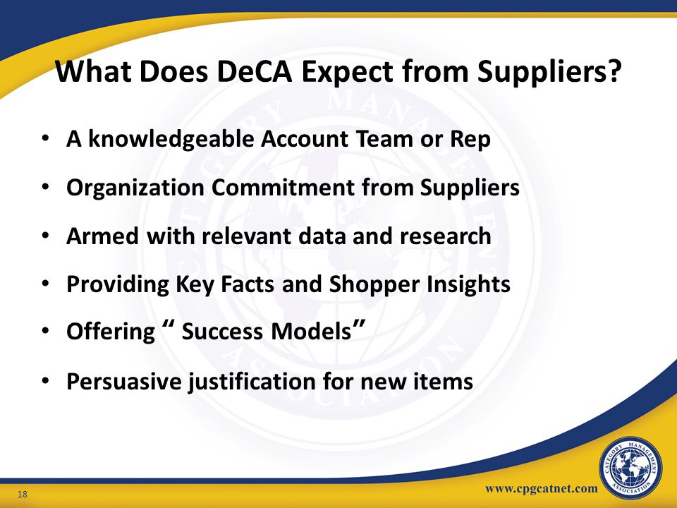 What Does DeCA Expect from Suppliers