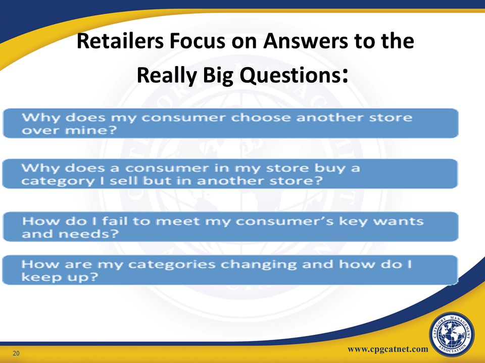 Retailers Focus on Answers to the Really Big Questions: