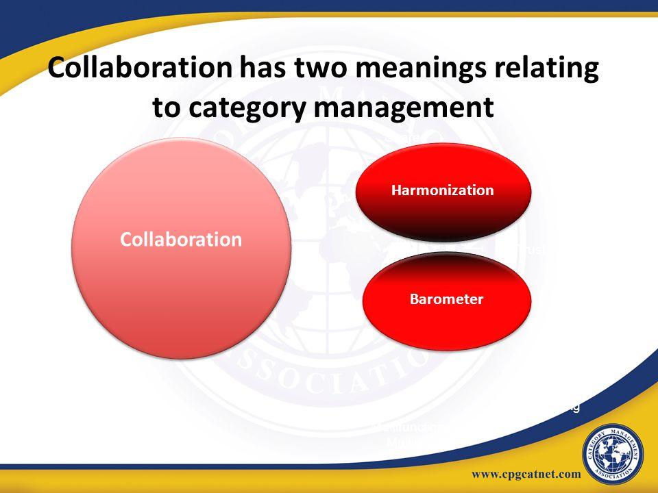 Collaboration has two meanings relating to category management