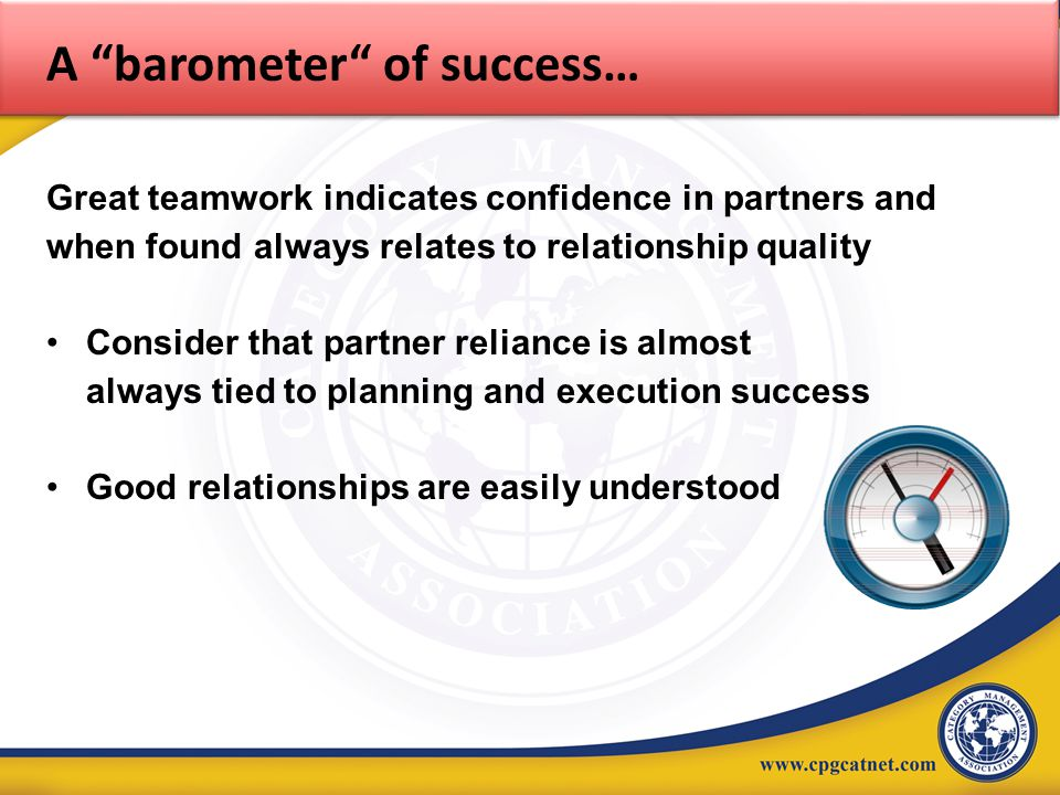 A barometer of success…