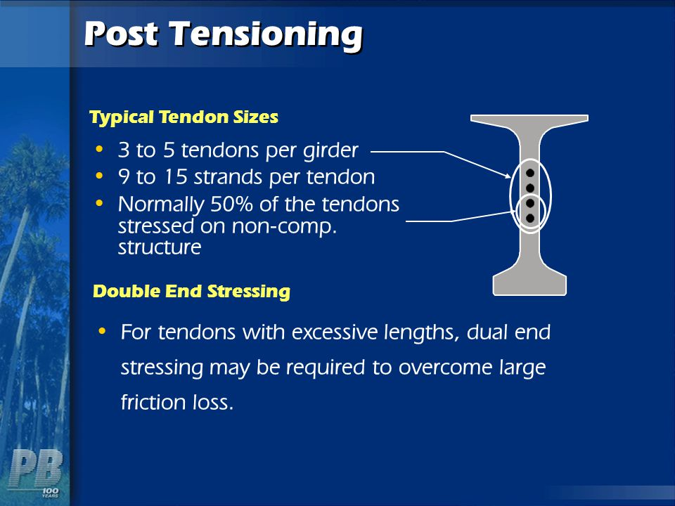 Post Tensioning 3 to 5 tendons per girder 9 to 15 strands per tendon