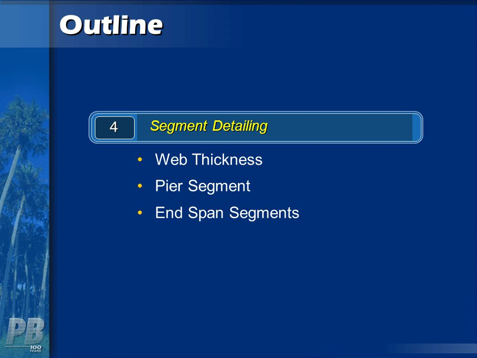 Outline Web Thickness Pier Segment End Span Segments 4