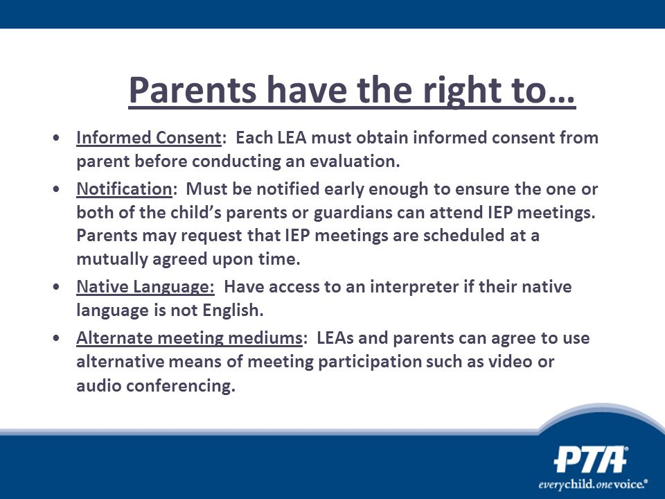 Parents have the right to…