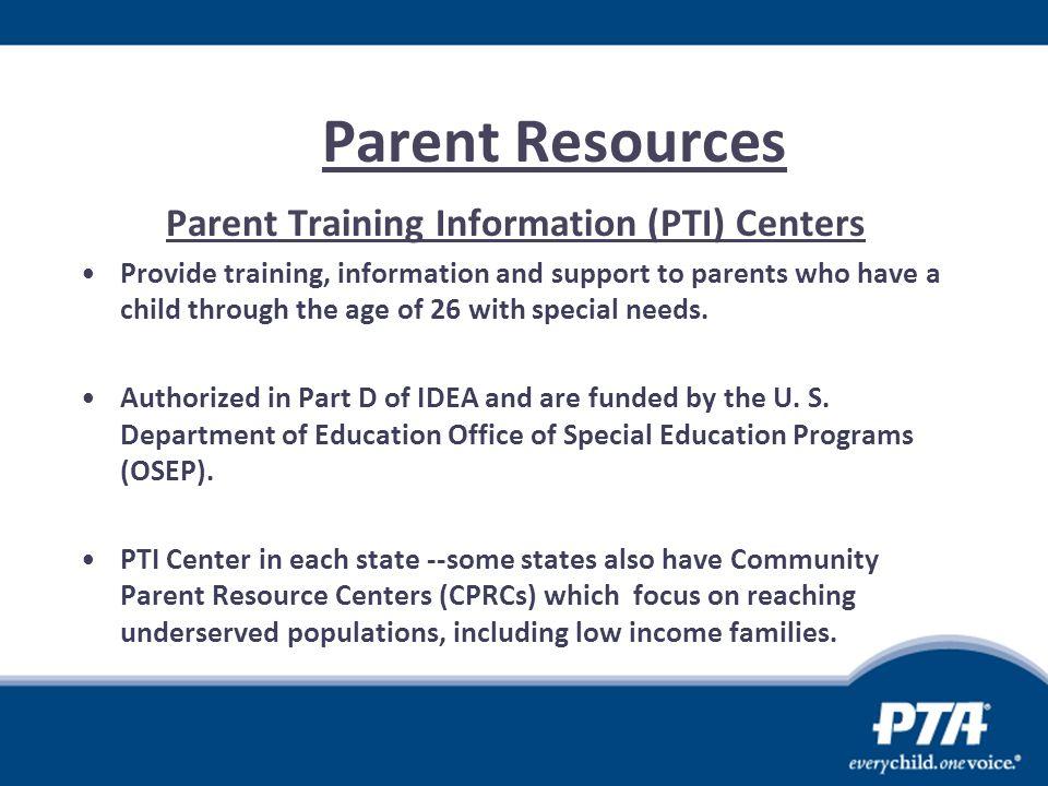 Parent Training Information (PTI) Centers