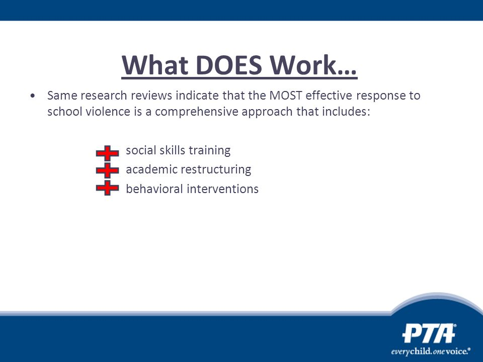 What DOES Work… Same research reviews indicate that the MOST effective response to school violence is a comprehensive approach that includes: