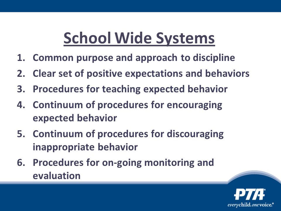 School Wide Systems Common purpose and approach to discipline