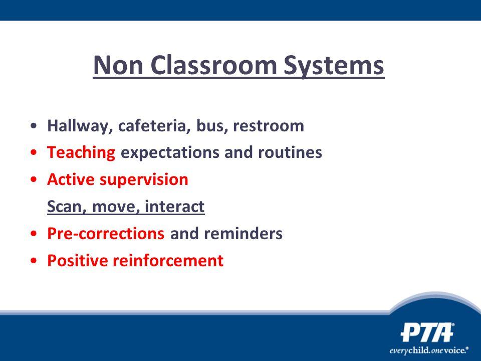 Non Classroom Systems Hallway, cafeteria, bus, restroom