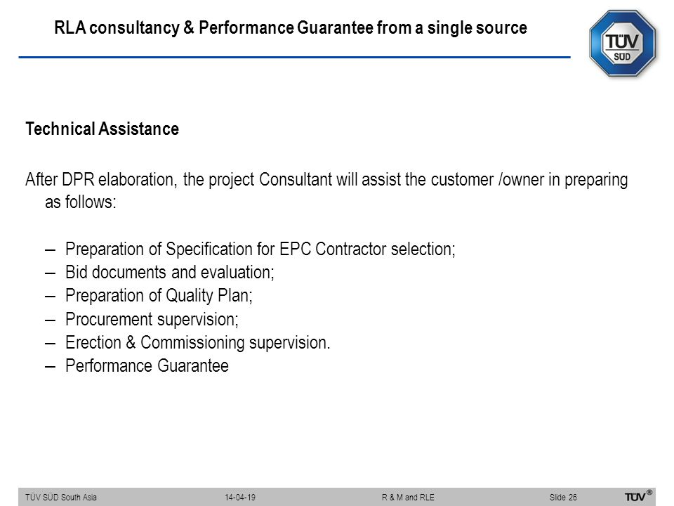 RLA consultancy & Performance Guarantee from a single source