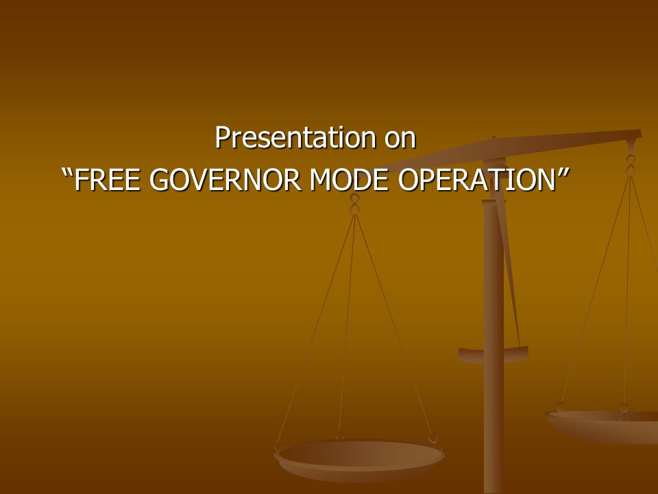 Presentation on FREE GOVERNOR MODE OPERATION