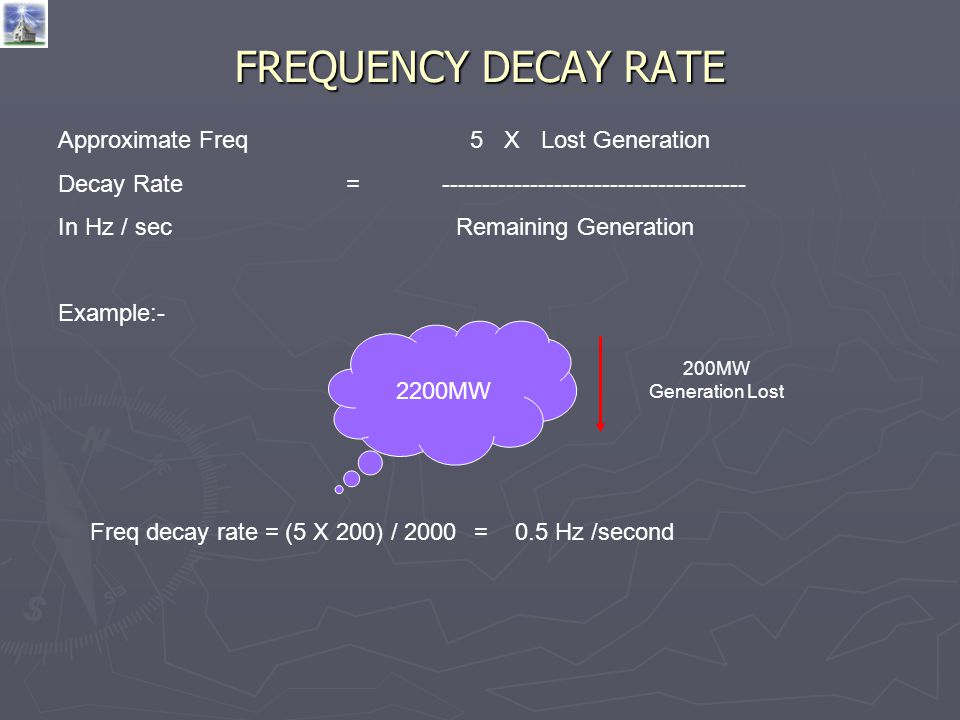 FREQUENCY DECAY RATE Approximate Freq 5 X Lost Generation