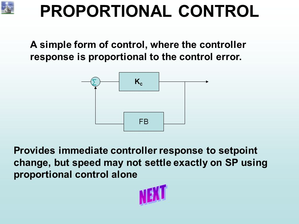 PROPORTIONAL CONTROL A simple form of control, where the controller response is proportional to the control error.