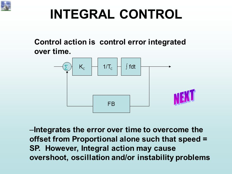 INTEGRAL CONTROL Control action is control error integrated over time.