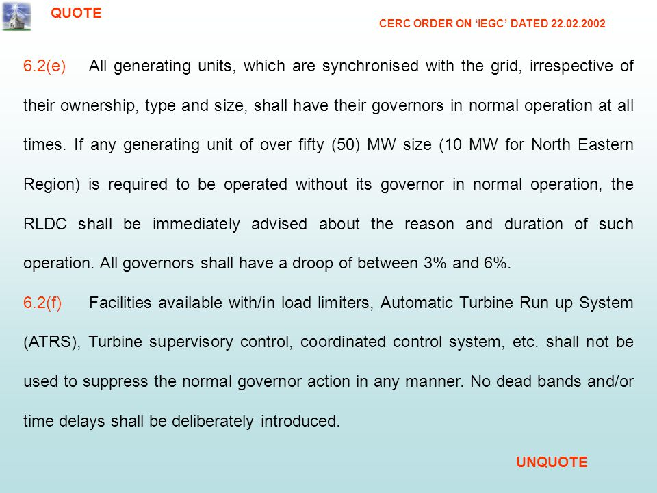 QUOTE CERC ORDER ON 'IEGC' DATED 22.02.2002.