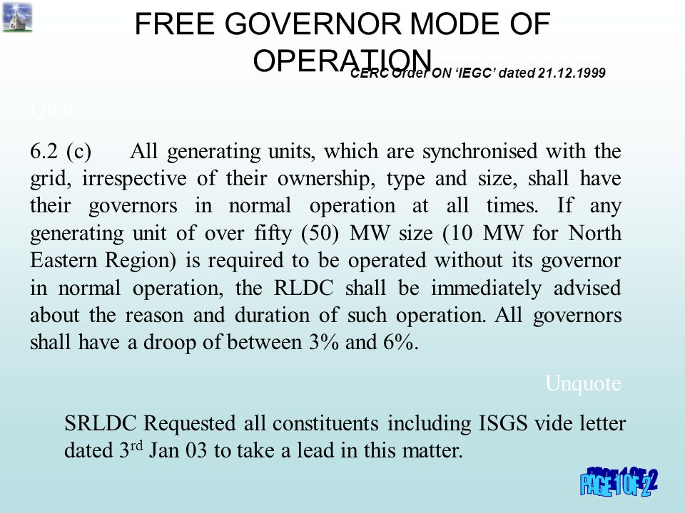 FREE GOVERNOR MODE OF OPERATION