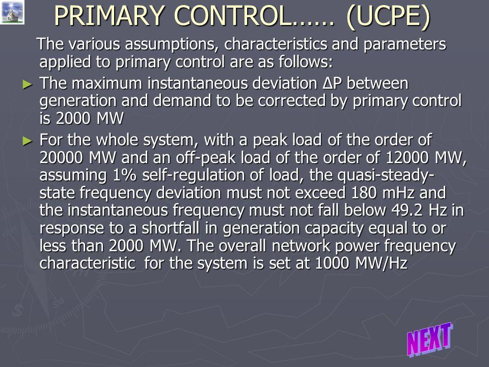 PRIMARY CONTROL…… (UCPE)