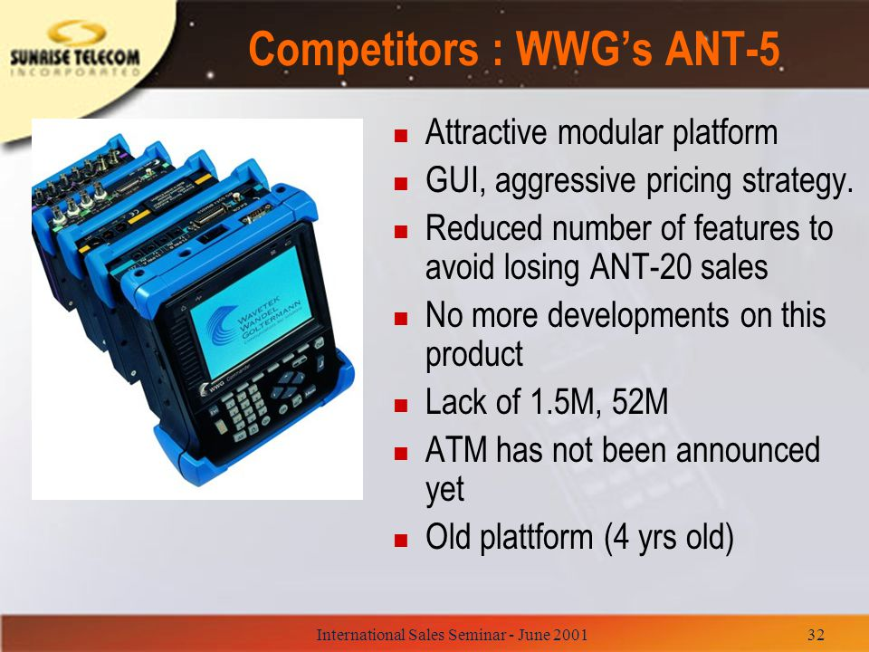 Competitors : WWG's ANT-5