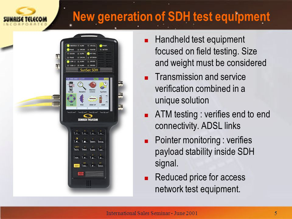 New generation of SDH test equipment